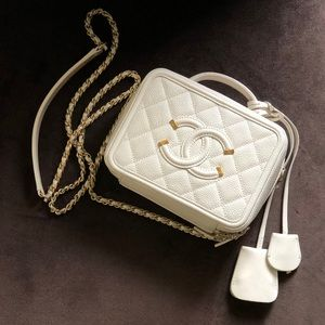 Chanel Small Ivory/White Vanity Filigree Bag